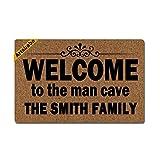 Artsbaba Personalized Family Name Doormat Welcome to The Man Cave Door Mat Monogram Non-Slip Doormat Non-Woven Fabric Floor Mat Indoor Entrance Rug Decor Mat 23.6' x 15.7'