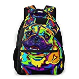 NiYoung Boys Girls Backpack Multipurpose Colorful French Bulldogs Black Laptop Backpack with Adjustable Shoulder Straps Stylish Backpacks for High School, College