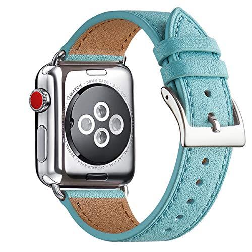 WFEAGL Kompatibel für Watch Armband 42mm 44mm 38mm 40mm,Top Grain Lederband mit Edelstahl-Verschluss Kompatibel für Serie 5 Serie 4/3/2/1(38mm 40mm,Tiffany Blau+Silber Quadratische Schnalle)