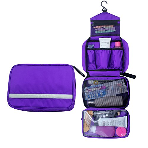 Relavel Cosmetic Pouch Toiletry Bags Travel Business Handbag Waterproof Compact Hanging Personal Care Hygiene Purse (Purple)