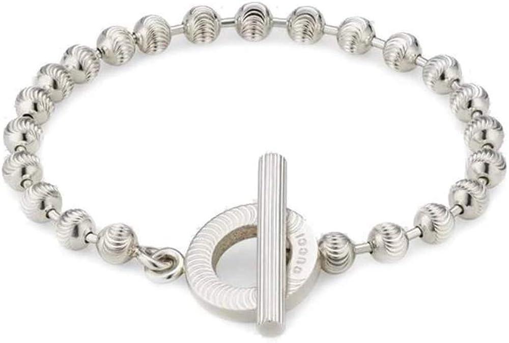 Gucci bracciale in argento 925 per donna,catena a sfere è reimmaginata con un pattern inciso YBA602707001