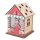 Cafopgrill Casa de cabaña de Madera de Navidad, cabaña de casa de Navidad de Forma Linda con Adornos Colgantes de árbol de Navidad DIY con Velas(Deer)