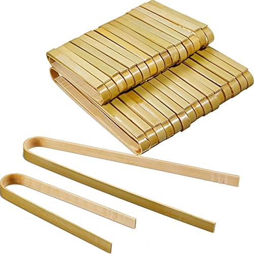 70 Mini Pinzas de Bambú Pinzas de Tostar de 2 Longitudes Pinzas de Cocina de Madera Desechables Utensilios de Cocina de bambú para Cocinar Tostadas Pan Pepinillos Té, 4 Pulgadas, 6 Pulgadas