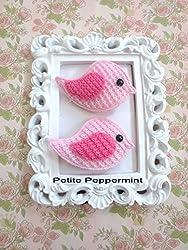 handmade hair clips for babies - pink bird