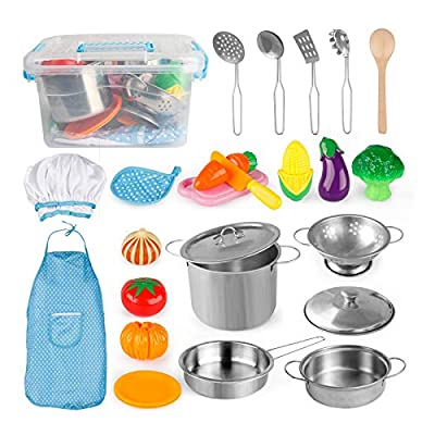 D-FantiX Pretend Play Toy Kitchen Accessories Kids Play Cooking Set Pots and Pans, Utensils, Apron and Chef Hat, Cutting Vegetables Kitchen Playset for Toddlers, Boys and Girls 3 4 5 + Years Old by D-FantiX