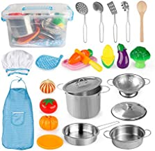 D-FantiX Play Kitchen Accessories, Kids Play Pots and Pans Playset with Mini Stainless Steel Pretend Play Cooking Toys, Cookware Utensils, Apron and Chef Hat, Cutting Food for Toddler Boys Girls