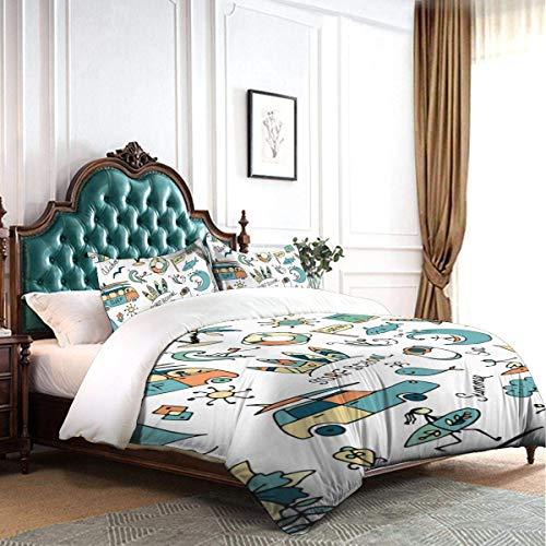 Juego de Funda nórdica Diseño de bocetos de Surf Juego de Cama de 3 Piezas de Hotel de Dormitorio Decorativo de Lujo con 2 Fundas de Almohada C1722
