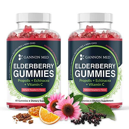 Elderberry Gummies for Kids & Adults Immune Support - Vitamin C Echinacea Propolis & Sambucus Black Elderberry Gummy Vitamins for Men & Women - Organic Nature Booster - 2 Month Supply - 2 Pack
