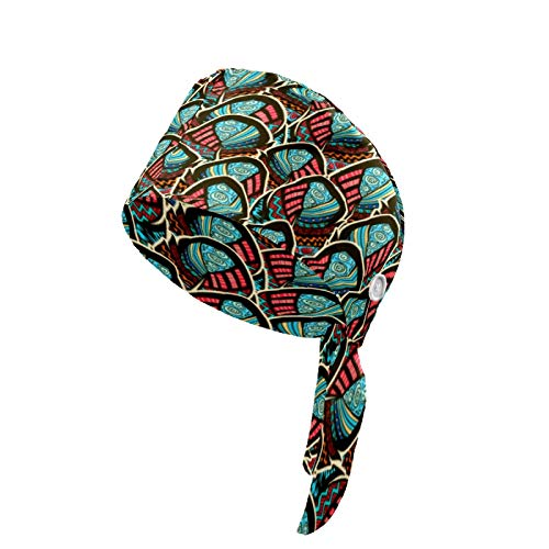 YYYMMM Working Cap with Button and Adjustable Tie Back for Women Men, Printed Feather Colour Ornament Pattern