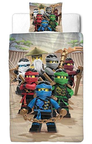 'Ninjago Parure de lit pour enfant – LEGO Ninjago Motif Be Cool – 2 pièces – Taie d'oreiller 80 x 80 + housse de couette 135 x 200 cm – 100% coton de qualité lisse renforcé – Allemande TAILLE standard