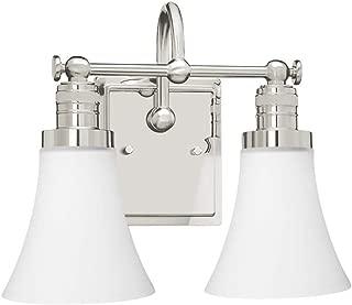 Langdon Mills 10217 Brompton 2-Light Bathroom Vanity Light, Polished Nickel