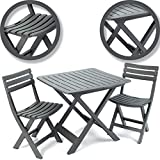 idooka Outdoor Garden Patio Balcony 3 Piece Camping Furniture Set for Two Adults Bistro with Lightweight Folding Collapsible Compact Table 2 Chairs Anthracite Grain Wood Effect Polypropylene Plastic