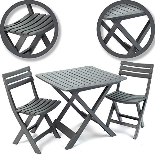 idooka Outdoor Garden Patio Balcony 3 Piece Camping Furniture Set for Two Adults Bistro with Lightweight Folding Collapsible Compact Table 2 Camping Chairs Grain Wood Effect Polypropylene Plastic