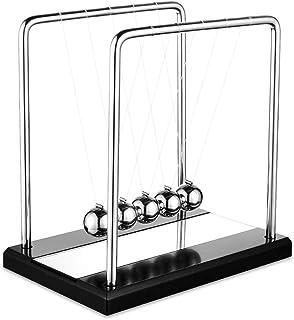 Evance Péndulo de Newton, Bola de Equilibrio Cradle de Newton, 5 Bolas, Juguete de Escritorio de Bola de péndulo Divertido, Adorno Escritorio 18 x 18 x 2cm (Negro & Espejo)