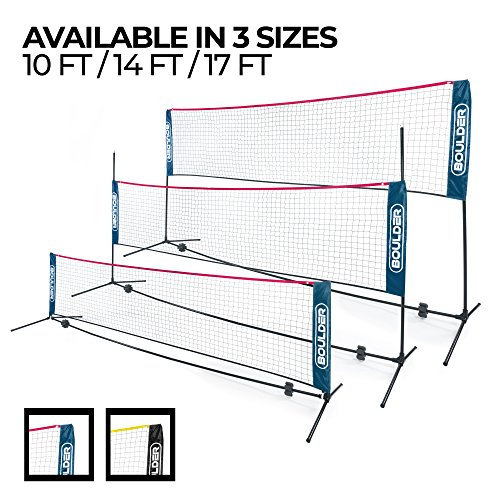 Boulder Portable Badminton Net  14Ft Small Net Set for Tennis Soccer Tennis Pickleball Badminton Easy Setup Nylon Sports Net with Poles  for Indoor or Outdoor Court Beach Driveway