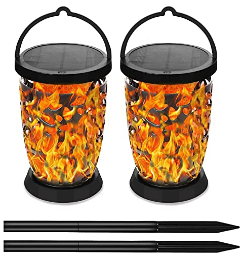 E-Able Power Solar Flickering Dancing Flame Light Solar Tiki Torches Waterproof Dust to Dawn Auto On/Off Decoration for Your Garden Yard Camping (2 Pack)