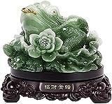yunyu Escultura de jardín al Aire Libre, estatuas Feng Shui Money Lucky Fortune Wealth Chinese Frog Toad Coin Decoración de Oficina en casa Adornos de Mesa Good Lucky Gifts