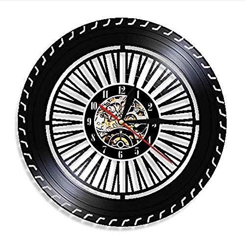 Reloj de pared de vinilo Reloj de pared de rueda de rendimiento Reloj de rueda de automóvil antiguo Servicio de automóviles Ventas Reparación de garaje Registro de vinilo Decoración Reloj de pared jn