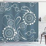 Graublauer Duschvorhang,abstrakte blühende Blütenblätter mit abstrakten Wirbeln Romantische Blumen,Stoff Stoff Badezimmer Set mit langen,schieferblau grau & weiß mit 12 Kunststoffhaken 180x210cm