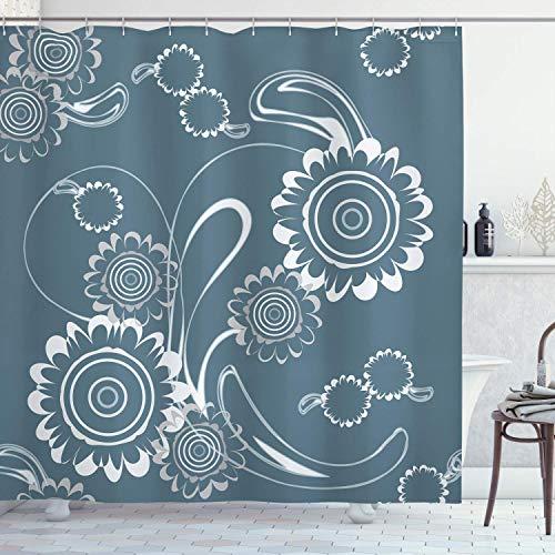 Graublauer Duschvorhang,abstrakte blühende Blütenblätter mit abstrakten Wirbeln Romantische Blumen,Stoff Stoff Badezimmer Set mit langen,schieferblau grau & weiß mit 12 Kunststoffhaken 180x180cm