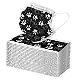 Wythe 50/100 pezzi a 3 strati, stampa zampa di cane, copertura viso, orecchie appese, osso nasale, bandana, non lavabile, non riutilizzabile, per adulti, per interni ed esterni (nero, 50 pezzi)