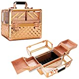 Ver Beauty Professional Makeup Case, Heavy Duty Acrylic Travel makeup organizer with 4 Extendable Trays, Rose Gold Diamond (VP017-85)