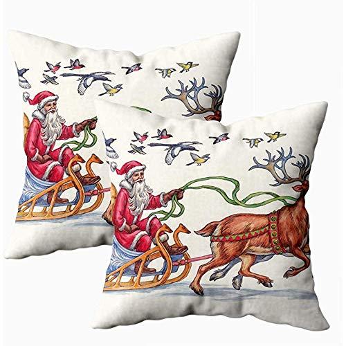 Bank Kussens Tekenen Kerstman Rides In Rendier Slee Een Kussenhoezen Decoratieve Kussenhoezen Herfst Gooi Kussenhoezen 2 Pack Thuis 45X45Cm