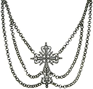 Victorian BLACK CROSS Festoon NECKLACE Gothic Jewelry