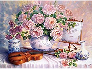 Holly LifePro DIY 5D Diamond Painting Kits for Adults, Full Drill Pink Rose Crystal Rhinestone Embroidery Pictures Arts Cr...