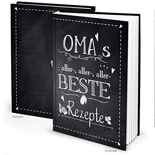Logbuch-Verlag Omas Rezepte Buch zum Eintragen und Selberschreiben XXL groß DIN A4 leer blanko - eigenes Kochbuch gestalten schwarz weiß Tafelkreide Look