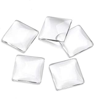 Joyingle 30 Glass Dome Cabochons Transparent Square Tiles Magnified Transparent Uncalibrated Circle 1 inch / 25mm for Embossed, Charm, Ring, Necklace