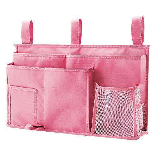 Caddy Hanging Organizer Bedside Storage Bag, 600D Oxford Cloth with Hook&Loop Fastener for Bunk and Hospital Beds,Dorm Rooms Bed Rails(8 Pockets) (Pink)