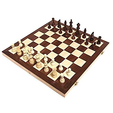 Chess Armory 15  Wooden Chess Set Felted Game Board Interior Storage