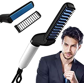Evadely Quick Hair Styler for Men Electric Beard Straightener Massage Hair Comb Beard Comb Multifunctional Curly Hair Stra...