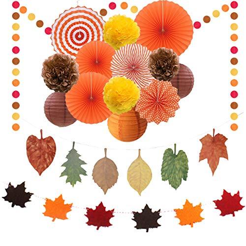 18 piezas decoraciones para fiestas otoño, hojas arce guirnaldas del empavesado Colgantes ventiladores papel Bolas panal flores Linternas papel celebración otoño, acción gracias, decoración cumpleaños