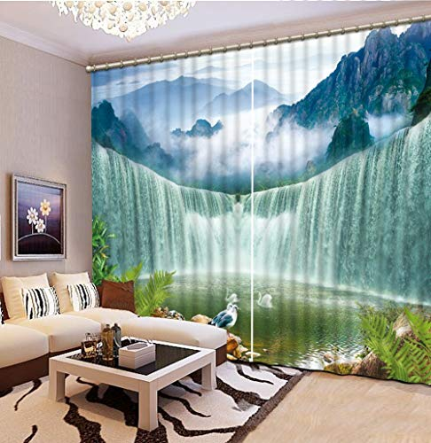 xmydeshoop any size 3D Print Curtain Mountains and waterfalls Photo Fabric Curtains For Bedroom Window 3D Curtains 150(H) x125(W) Cmx2