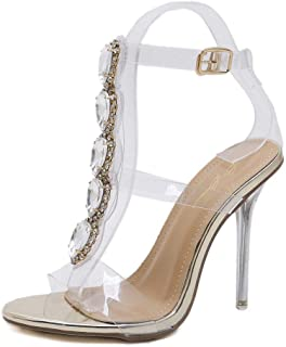 6333fd0638c MKHDD Women Pumps Open Toe High Heels Shoes Buckle Strap Diamonds Crystal  PVC Clear Heels Thin