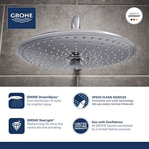 Grohe 26457000 Euphoria 260 Shower Head with 3 Spray Patterns, 2.5 gpm, Starlight Chrome