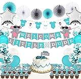 Mint & Elm Elephant Boy Baby Shower Decorations- 61 Items-...