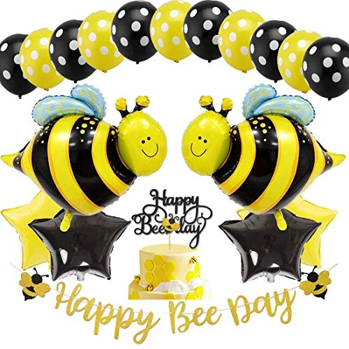 Erosion Hummel-Partydekoration Hummel-Luftballons | Happy Bee Day Gold Glitter Banner & Happy Bee Day Cake Topper für Honey Bee Motto-Geburtstagsfeier-Baby-Dusche liefert