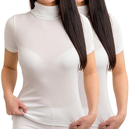 HERMKO 17855 2er Pack Damen Shirt mit Rollkragen, Farbe:weiß, Größe:40/42 (M)