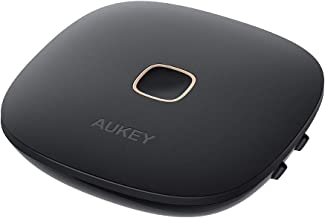 AUKEY Bluetooth 5.0 Trasmettitore Ricevitore 2-in-1, Wireless Adattatore Audio con aptx-LL, Doppio-Link, Audio da 3,5 mm / RCA /Optical Cable per TV, PC, Impianto Stereo Domestico ecc