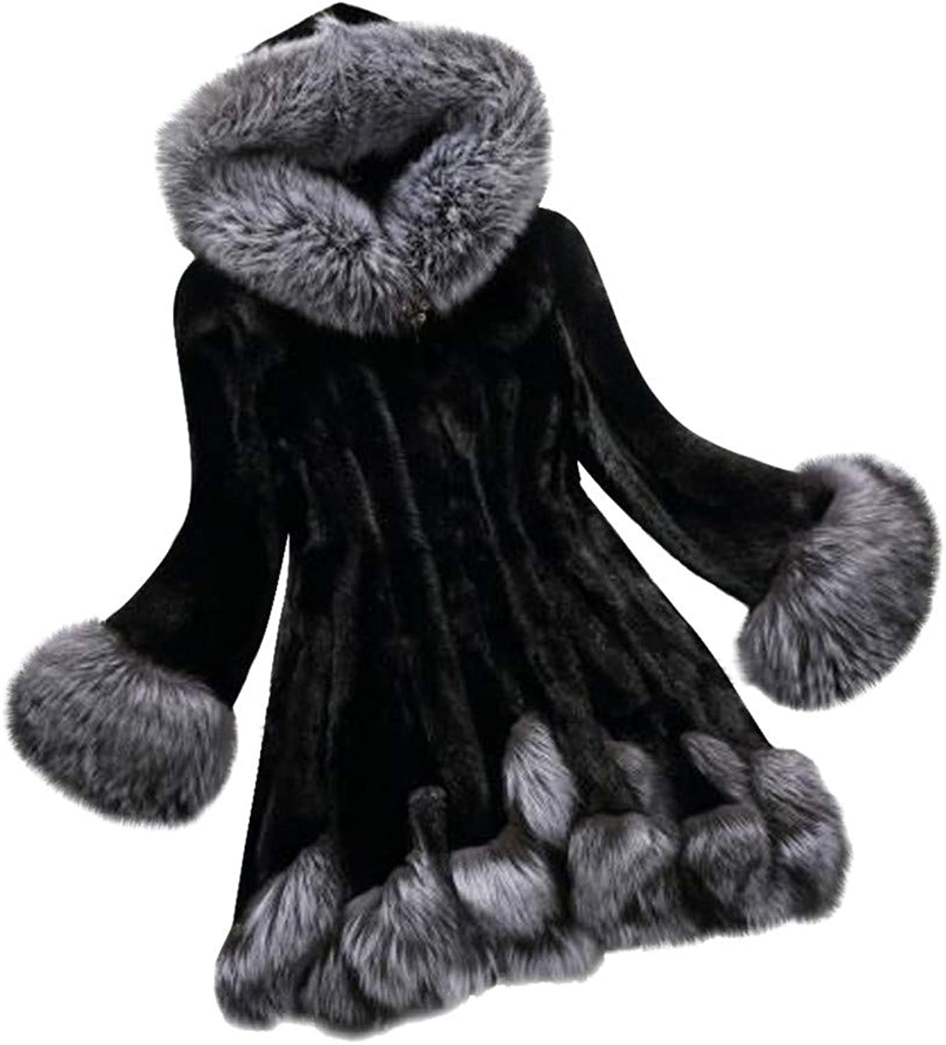 LISTHA Faux Fur Coat Women Hooded Warm Overcoat Winter Thick Jackets Pockets