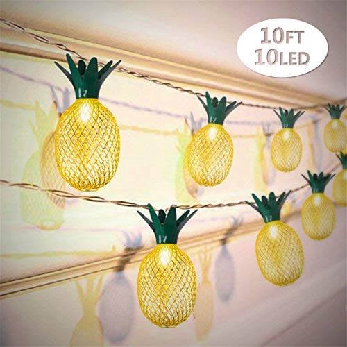 Pineapple Decor Light Battery Powered 10 LED Fairy String Lighting for Christmas Home Wedding Party Bedroom Birthday Decoration (Warm White)