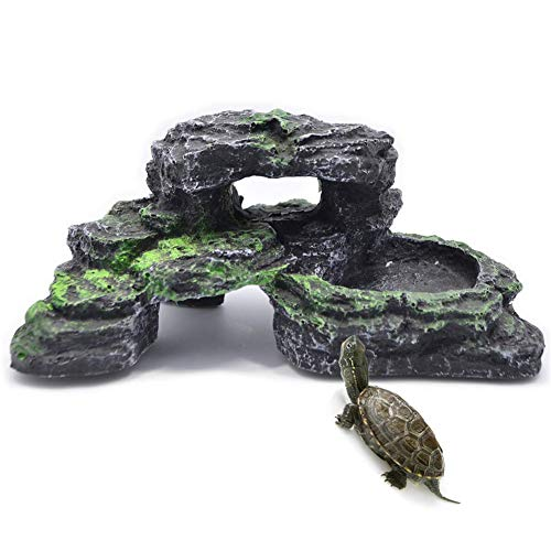 PINVNBY Turtles Dock for Aquarium Reptile Basking Platform for Turtles, Frogs, Newts and Salamanders
