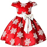 2-9 Years Toddler Girls Christmas Dress Flower Girls Bow Knot Snowflake Print Xmas Eve Holiday Wedding Formal Party Dresses