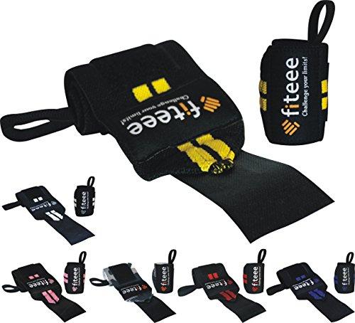 BOUT3 Handgelenk Bandagen (ohne Dehnung), Wrist Wraps mit Klettverschluss für Fitness, Bodybuilding, Kraftsport & Crossfit, Gelenkprobleme - Frauen/Männer (Handgelenk Gelb)
