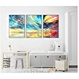 Lignes colorées abstraites Imprimer image Art mural Peintures sur toile Décoration pour poster de salon sans cadre -50x70 cm Sans cadre