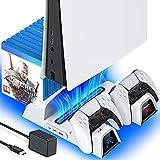 OIVO PS5 Ständer mit Lüfter und Netzteil für Playstation 5 Konsole, PS5 Vertikaler Standfuß mit Kühlung und Controller Ladestation, 12 Spiele Halterung für Sony Playstation 5, weiß