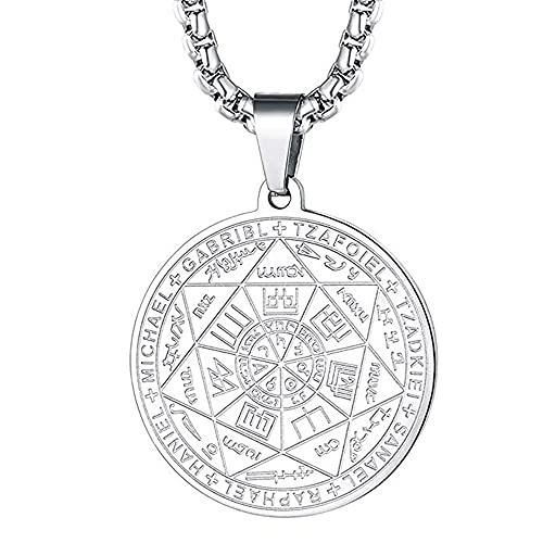 HAYOUWAY Collar con colgante con el sello de los siete arcángel,